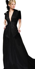 Splendid Deep V Neck Line Autumn Gown | Autumn Fashion Wear