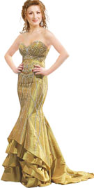 Beautifully Embedded Fish Cut Autumn Gown