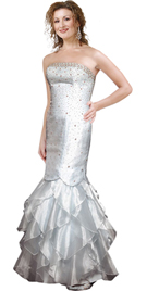 Strapless Embellished Multi-Tiered Organza Beaded Dress
