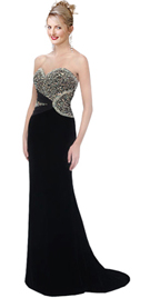 Corset Inspired Strapless Velvet Beaded Gown