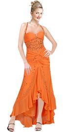 Sexy Hi-low ruffled Chiffon Halter Beaded dress