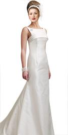 Swanky Bateau Neckline Bridal Attire