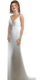 Deep 'V' Neckline Bridal Gowns With Delicate Spaghetti Straps Silky Satin Wedding Gown
