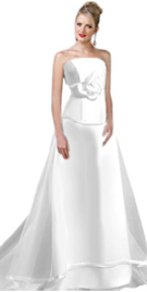 Two Piece Strapless Evening Gown In Matte Satin And Soft Net Confection