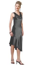 Cowl Neck Asymmetric Hemline Cocktail Dress