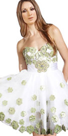 Embroidered Strapless Cocktail Dress