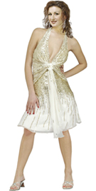 Halter Silk Chiffon Drape With Profuse Gold Sequins