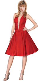 Decollete V-neckline Cocktail Dress