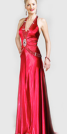 Cheap Pricess Cut Halter Evening Gown