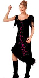 Black Chiffon Fur Dress