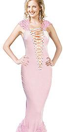Hot Pink Evening Fur Dress