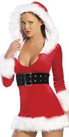 Faux Fur Hooded Mini Red Dress