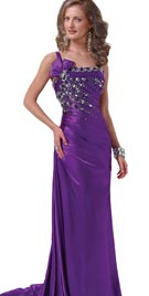 Purple Evening Gowns - One Shoulder Gowns