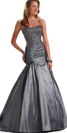 Metallic Colored Strapless Evening Gown