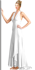 Artistic Gathered V Neck Halter Evening Dress