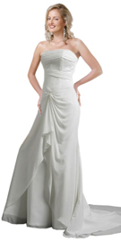 Soft Georgette Hi Low Gathered Sweep Train Gown
