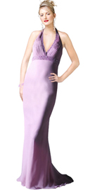 Purple chiffon Pleated evening Gown
