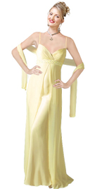 Silk Satin Crisscross Beaded evening Gown
