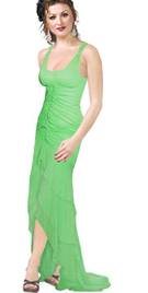Center Shirred sea green Evening Dress
