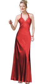 Elegant Empire Embedded Halter Evening Dress