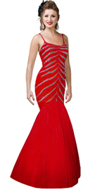 Sequined Fitted Bodice Mermaid Evening Gown