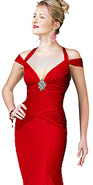 Red Chiffon Off Shoulder Evening Dress