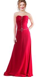 Strapless full-length hot evening gown