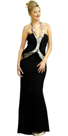 Halter dress with glistening sequins strip