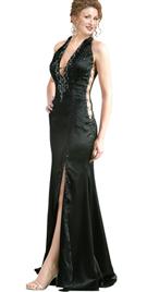 Hot Halter Plunging Neckline Gown