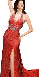 Dazzling Brooch Studded Evening Gown