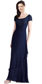 Sumptuous Scoop Neckline Evening Gown