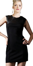Stunning One Piece Dress With Blended Leather