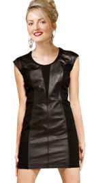 Fantastic Short Leather Combination Dress