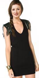 Super Attractive Leather Tasseled Cowboy Dress