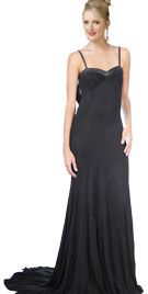 Striking Floor Length Gown with Leather Outline