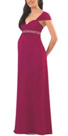 Designer Beaded Empire Maternity Dress