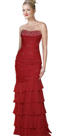 New Beaded Strapless Chiffon Prom Gown