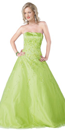 New Fully Embroidered Strapless Gown