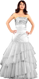 New Net Ruffled Ball Gown