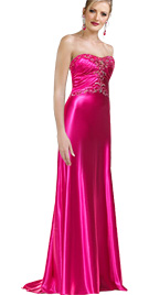 Strapless A-line prom gown