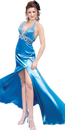 Beaded empire waist prom gown