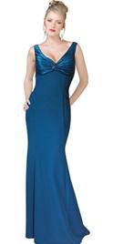 V-neckline Twisted Prom Evening Dress
