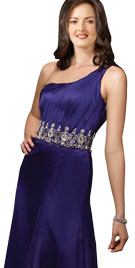 One Shoulder Floor Touching Prom Gown
