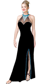 Black jersey Prom Dresses with Jewel Front