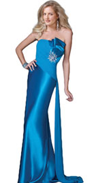 Silk Marine Strapless Prom Dress