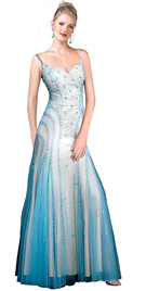 Net Satin Stone Embroidered Prom Dress