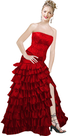 Satin Beaded Red ruffled Prom Dress