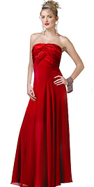 Strapless Chiffon Satin prom Gown