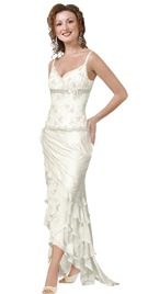 Iridescent satin and silk chiffon gown with spaghetti straps and ribbon with bow at the bust line