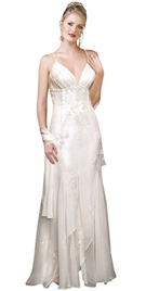 Iconic beauty in silk chiffon and satin premium gown